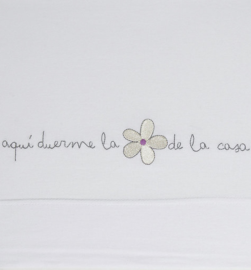 SHEETS EMBROIDERED WITH PHRASES 120cm by Sonpetit